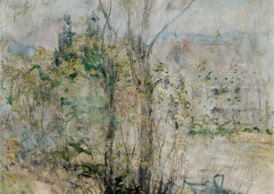 John HenryTwachtman– VIEW OF THE BRUSH HOUSE, COS COB, CONNECTICUT