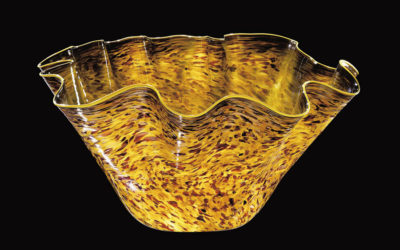 Dale Chihuly's Olive Macchia with Cadmium Yellow Lip Wrap