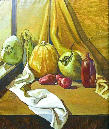 Dulce H. de Beatriz (Cuban, American, b. 1931), Still Life with Wine Bottle and Vegetable, 1968
