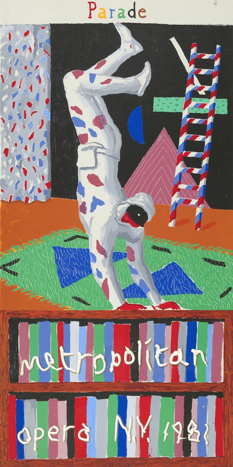 David Hockney (British, b. 1937), Parade, 1981, screenprint. Gift of the Friends of the McNay, McNay Art Museum, 1981.23