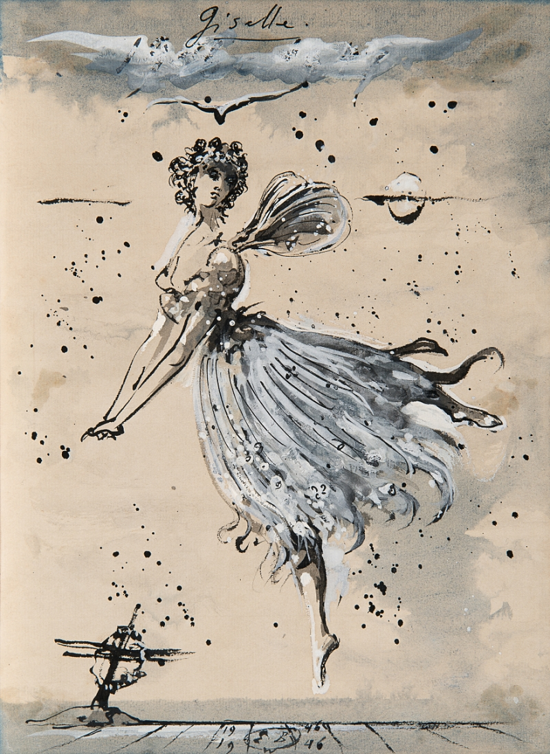 Eugene Berman, Costume design for Giselle, Act II, in Giselle, 1946