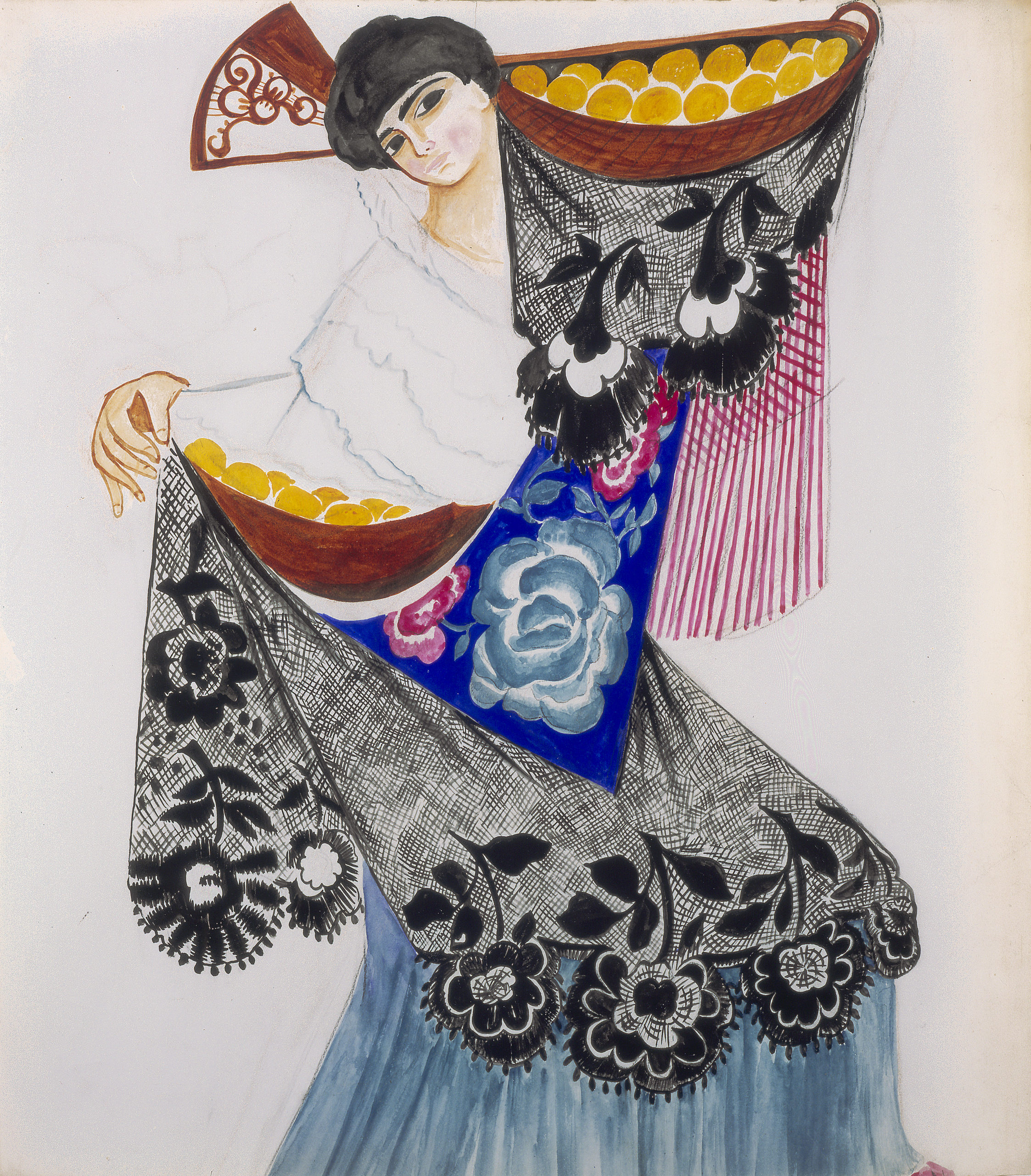 Costume design for a Spanish dancer with oranges. Dancing woman in colorful traditional costume, carrying a basket of oranges aloft.