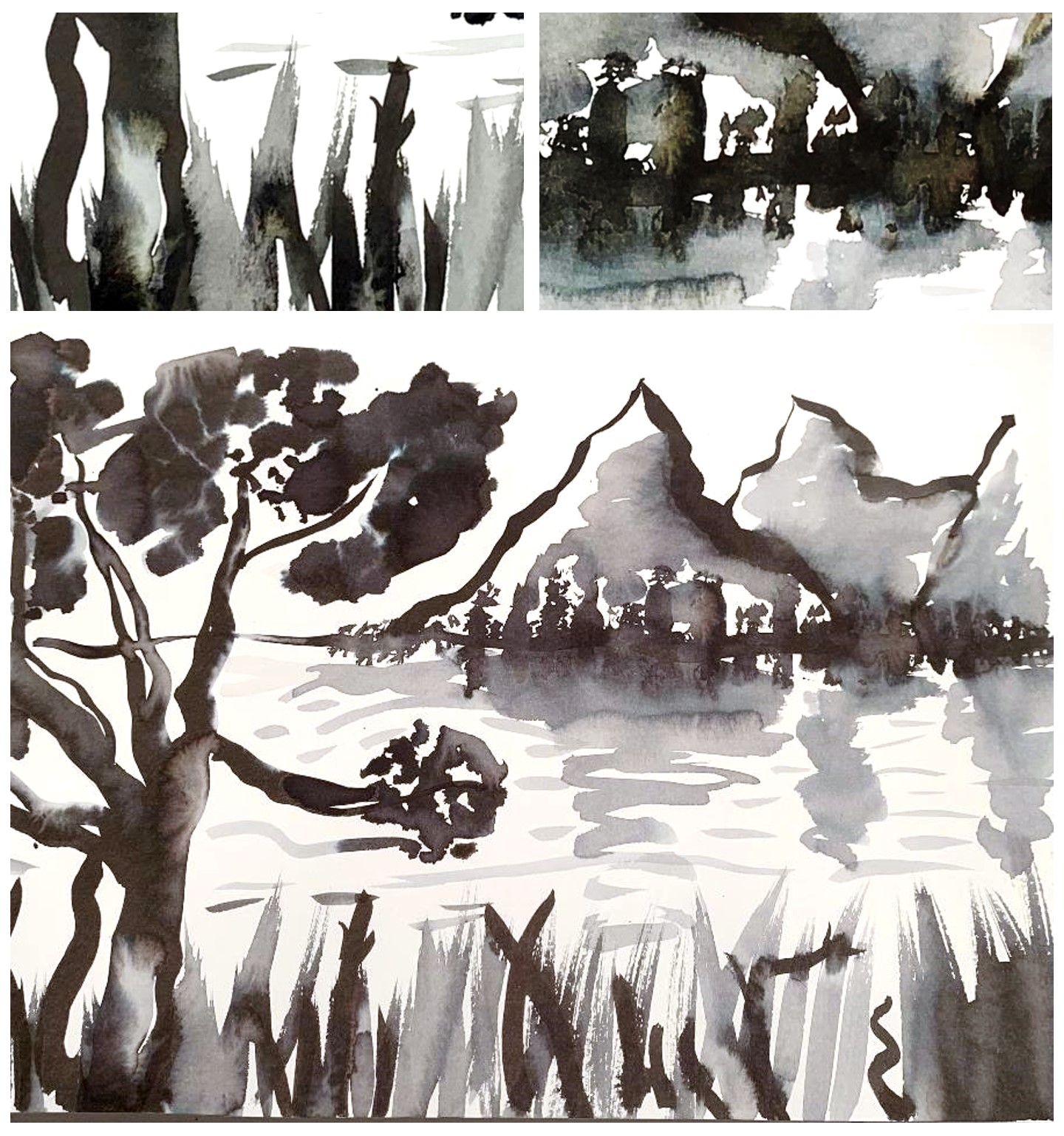 Ink Wash Painting: Abstract Landscape