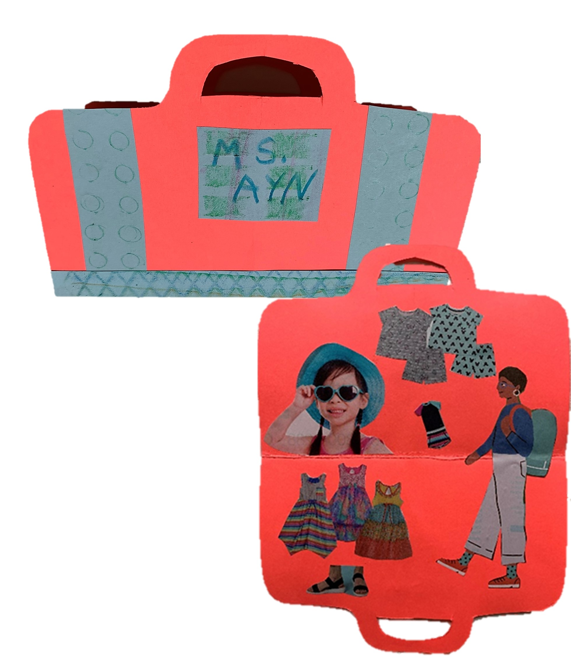 """An example of the embossed construction paper """"suitcase"""" created in this week's Tiny Thursdays at Home lesson."""