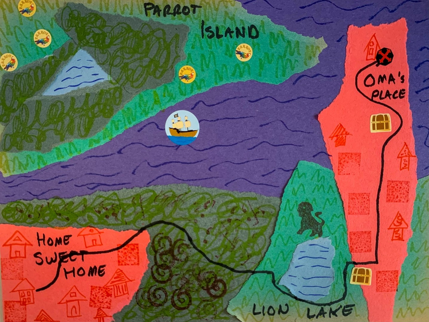 An example of the torn paper maps created in this week's Tiny Thursdays at Home lesson.
