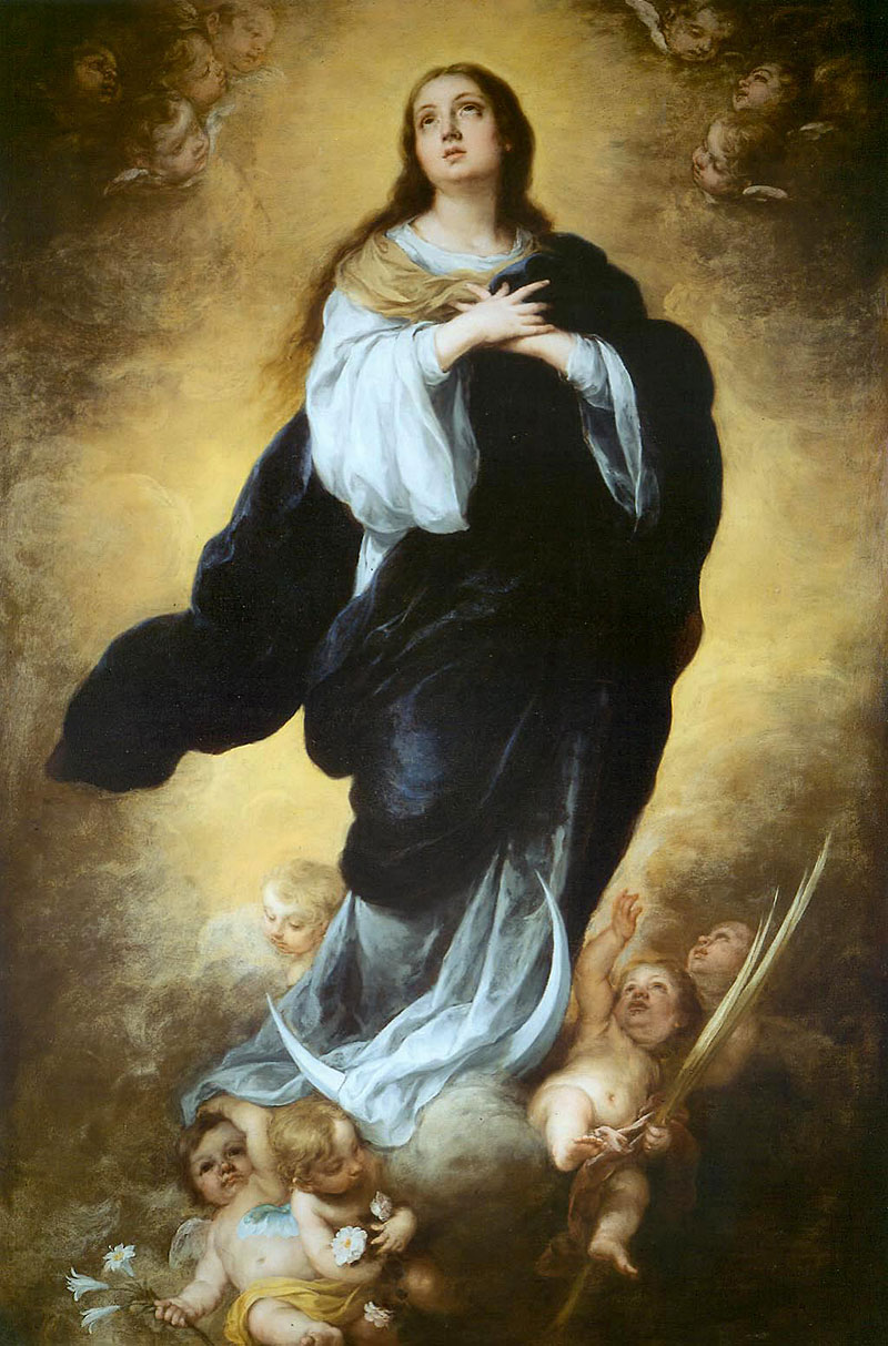 The image depicts the painting The Immaculate Conception, circa 1670-80, by Spanish artist Bartolomé Estéban Murillo.