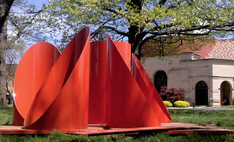 Shown is Alexander Liberman's sculpture Firmament, created in 1969-1970.