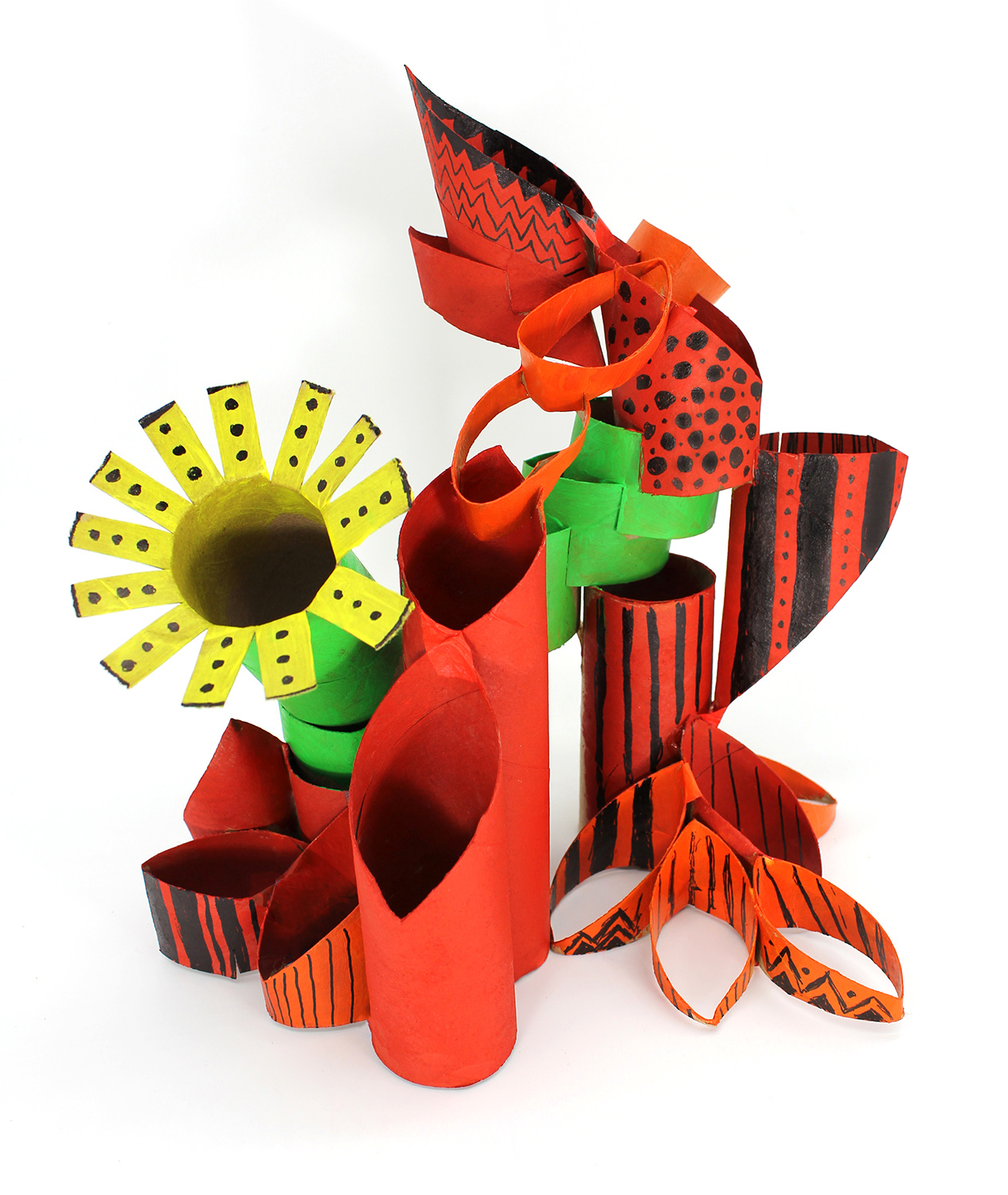 An example of the cardboard tube sculpture that can be made with this month's ARTventures lesson.