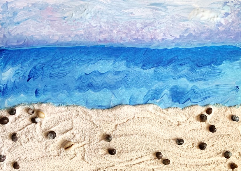 An example of the sand painting created in this week's PNC Tiny Thursdays at Home lesson.