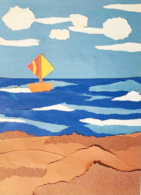 An example of the torn paper seascape that will be created in this lesson.