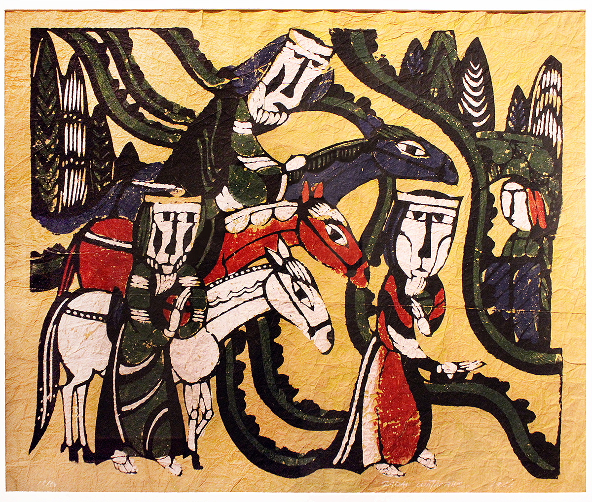 The image depicts the print Arrival of the Three Kings, created in 1966 by Japanese artist Sadao Watanabe