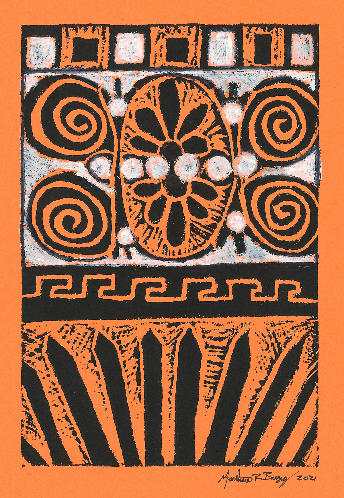 An example of the ancient Greek inspired relief print made with this month's ARTventures lesson.