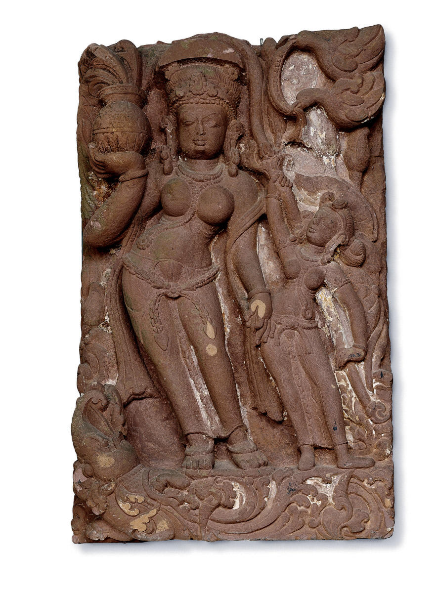 The featured artwork for this lesson is Ganga and Attendant, created by an unidentified Indian artist in the 9th century.