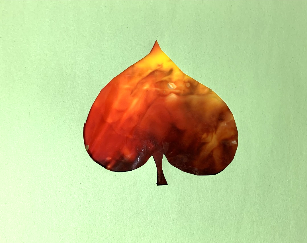 An example of the leaf smush painting that will be created in this Tiny Thursdays lesson.