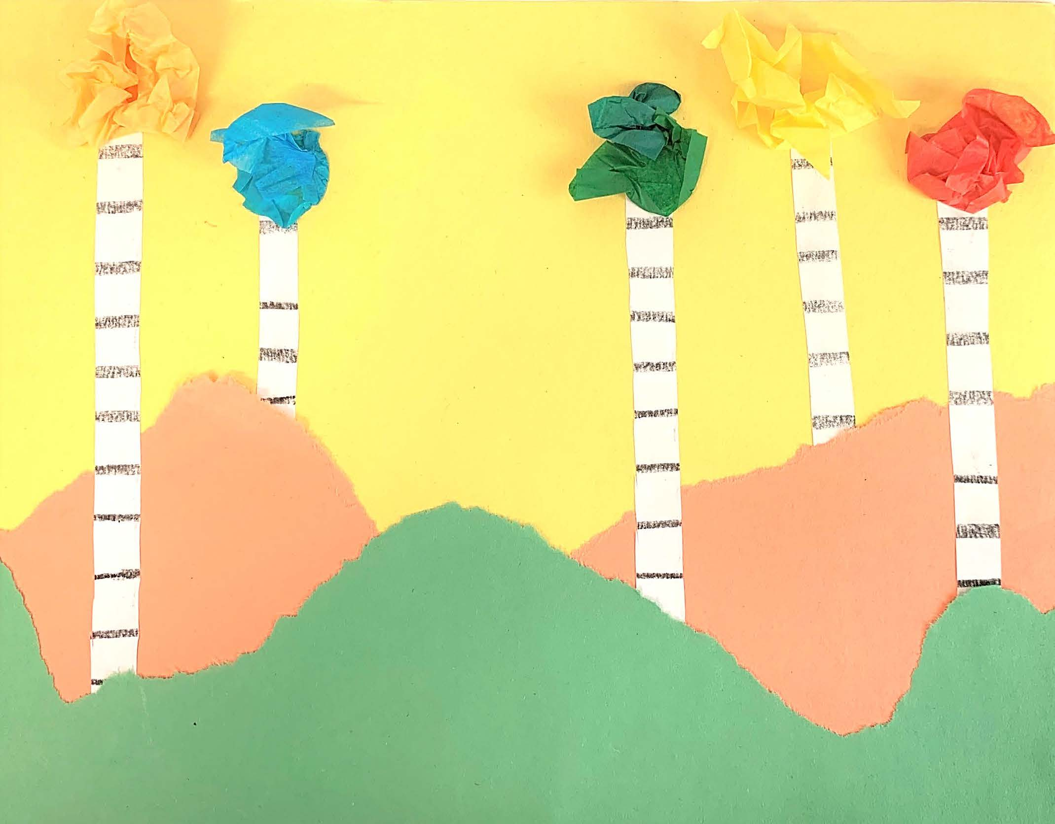 An example of the torn-paper landscape art that will be created in this Tiny Thursdays lesson.