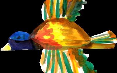 3-D Watercolor-Resist Bird
