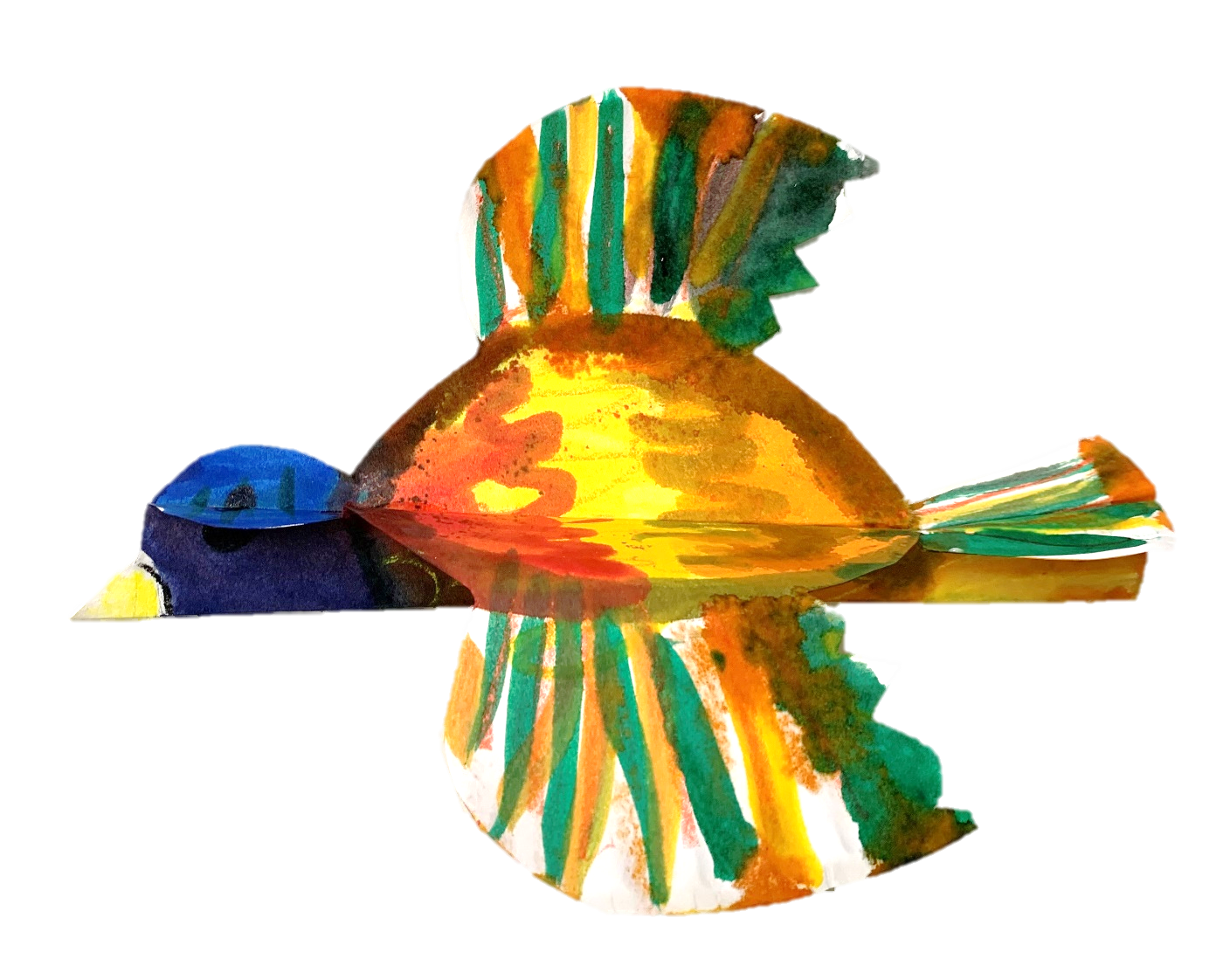 An example of the watercolor resist bird that will be created in this Tiny Thursdays lesson.